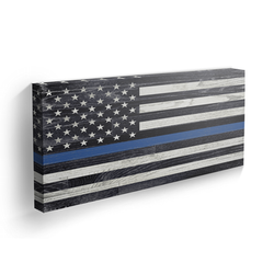 Thin Blue Line - Wood Grain - Bravo Landscape